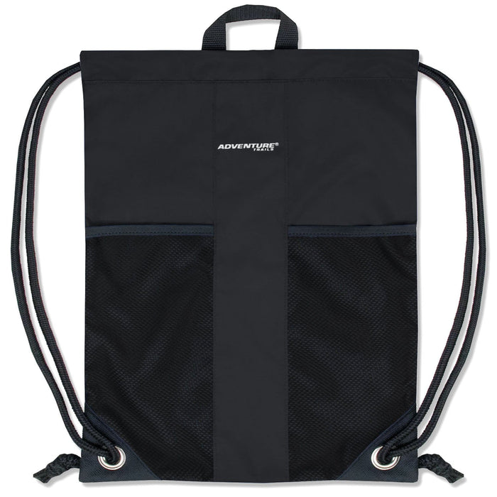 Wholesale Adventure Trails Drawstring Backpack - Black Only