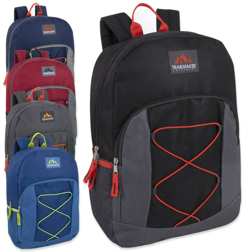 Wholesale Trailmaker 17 Inch Bungee Backpack With Side Pocket - 5 Colors