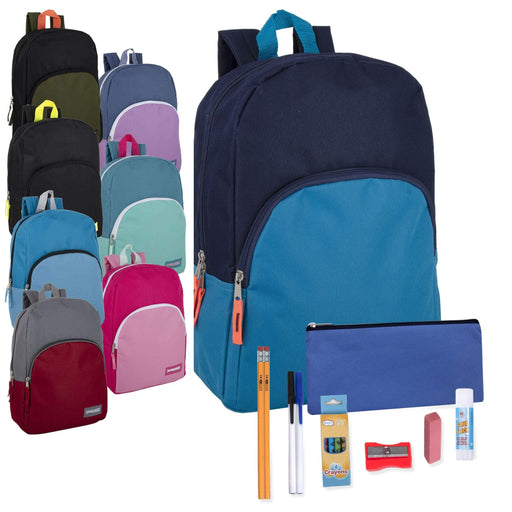 Preassembled 15 Inch Backpack & 12 Piece School Supply Kit - 8 Colors