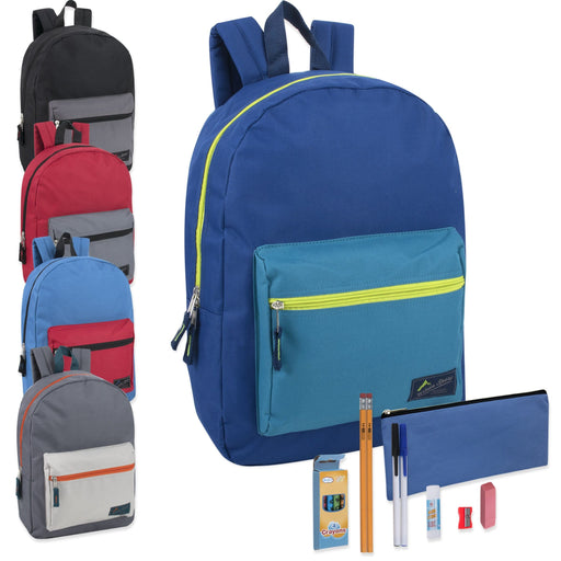 Preassembled 17 Inch Color Block Backpack & 12 Piece School Supply Kit - 5 Colors -