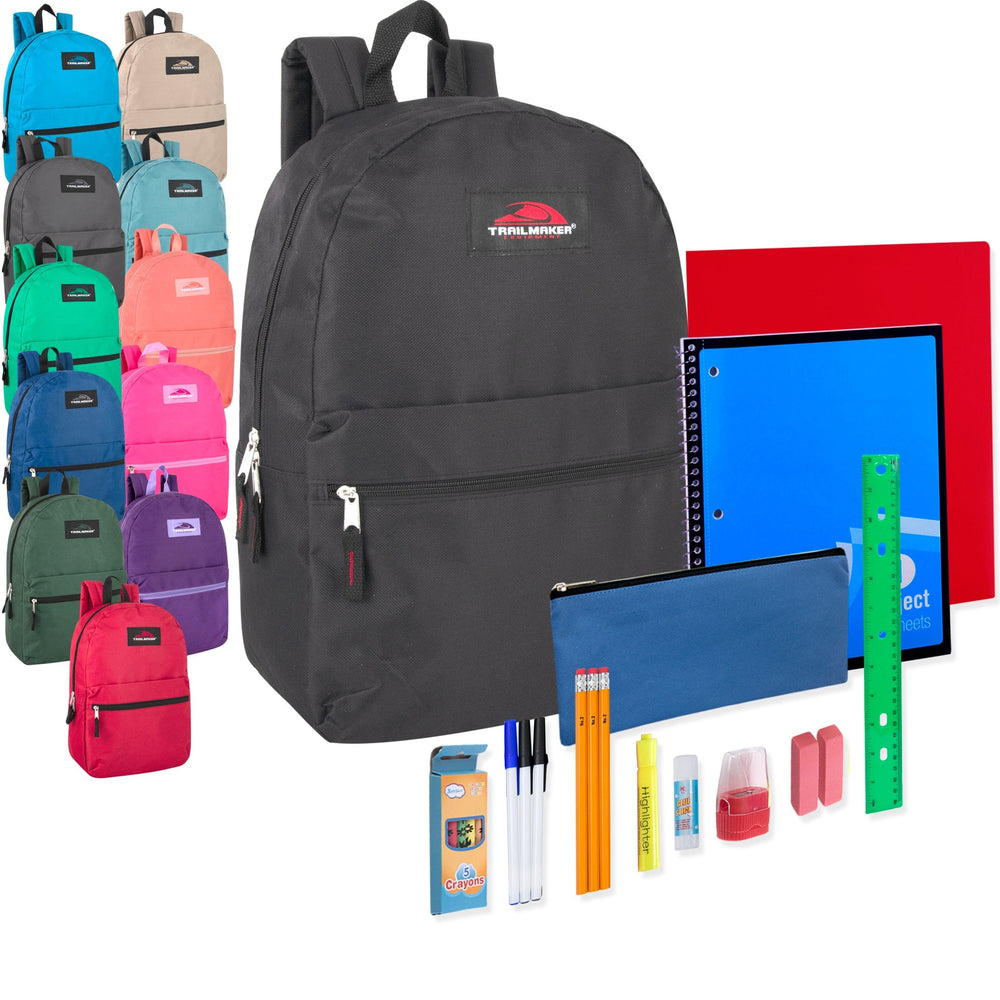 Preassembled 17 Inch Backpack & 20 Piece School Supply Kit - 12 Color -