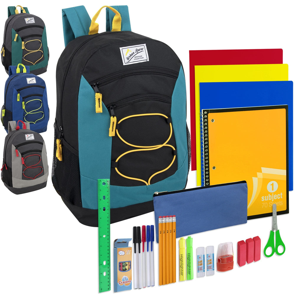 Preassembled 18 Inch Urban Sport Deluxe Bungee Backpack & 30 Piece School Supply Kit - Boys