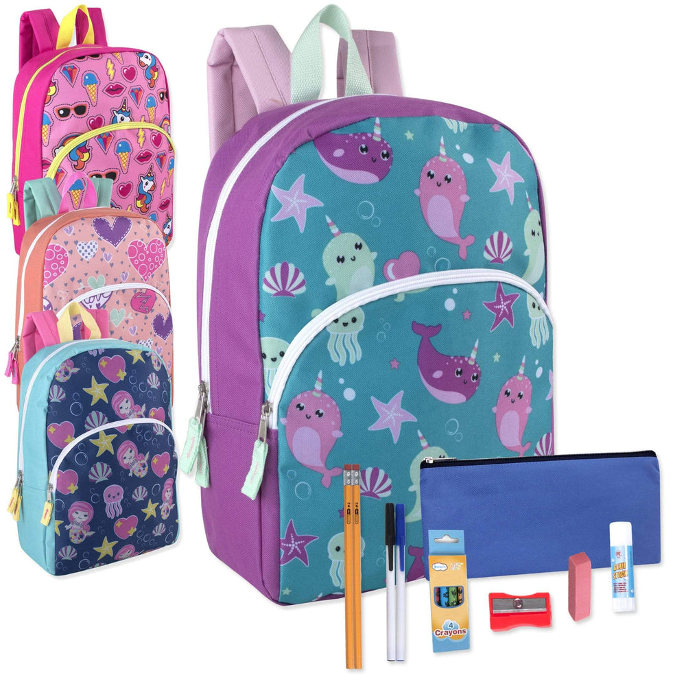 Preassembled 15 Inch Character Backpack & 12 Piece School Supply Kit - Girls-BagsInBulk.com