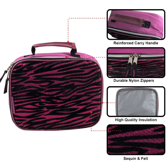 Wolesale Fridge Pack Pink Zebra Print Lunch Bag