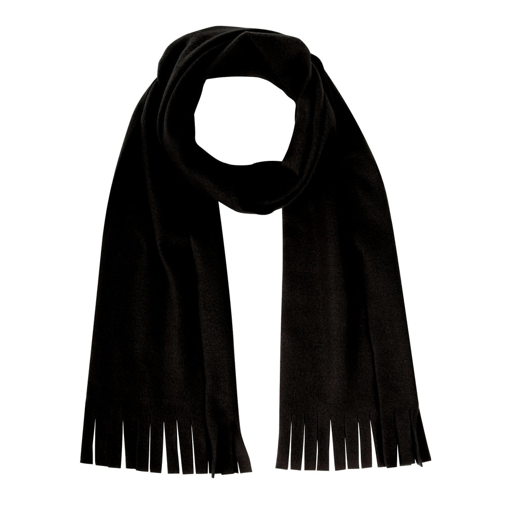 "Wholesale Adult Fleece Scarves 60"" x 8.5"" With Fringe - Black Only"
