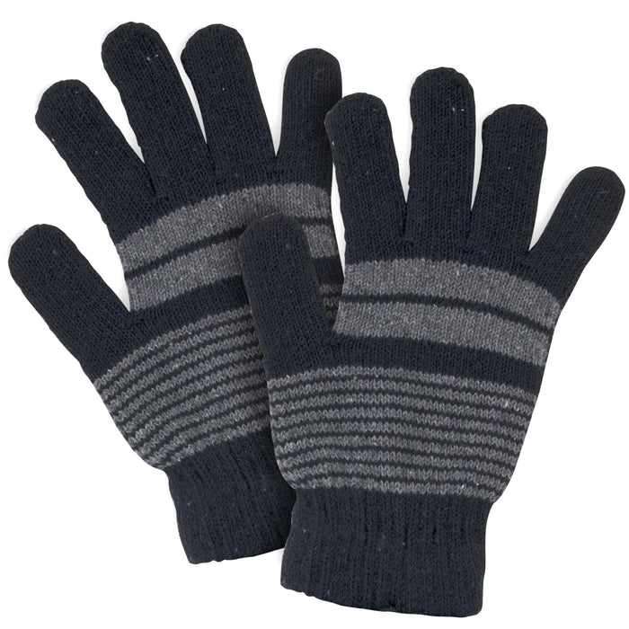 Wholesale Adult Knitted Gloves - Striped Patterns