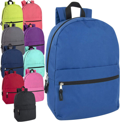 Wholesale 17 Inch Solid Backpack -