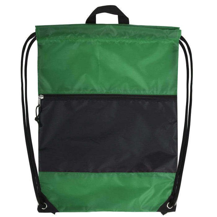 Wholesale 18 Inch Drawstring Bag Large Zippered Section - 5 Colors -