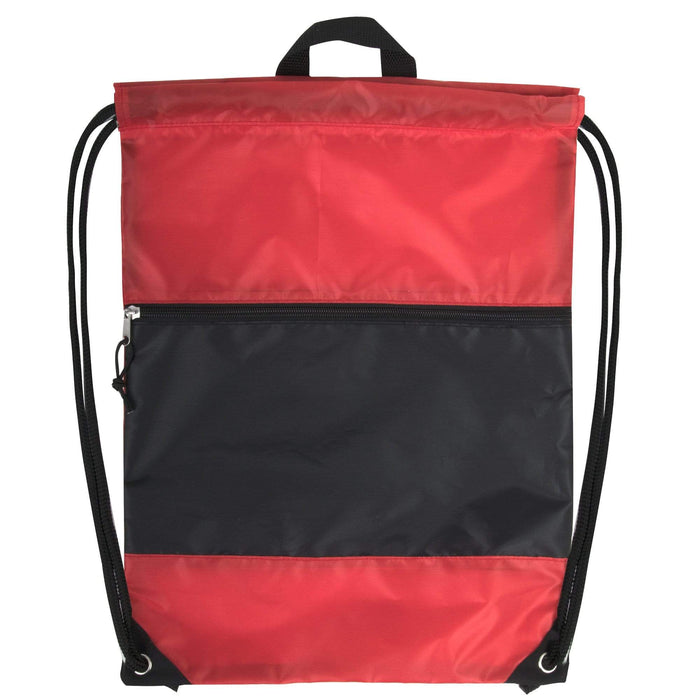 Wholesale 18 Inch Drawstring Bag Large Zippered Section - 5 Colors