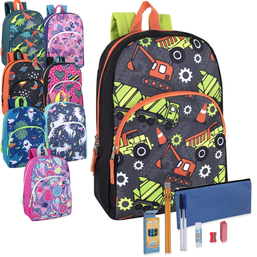 Preassembled 15 Inch Character Backpack & 12 Piece School Supply Kit -