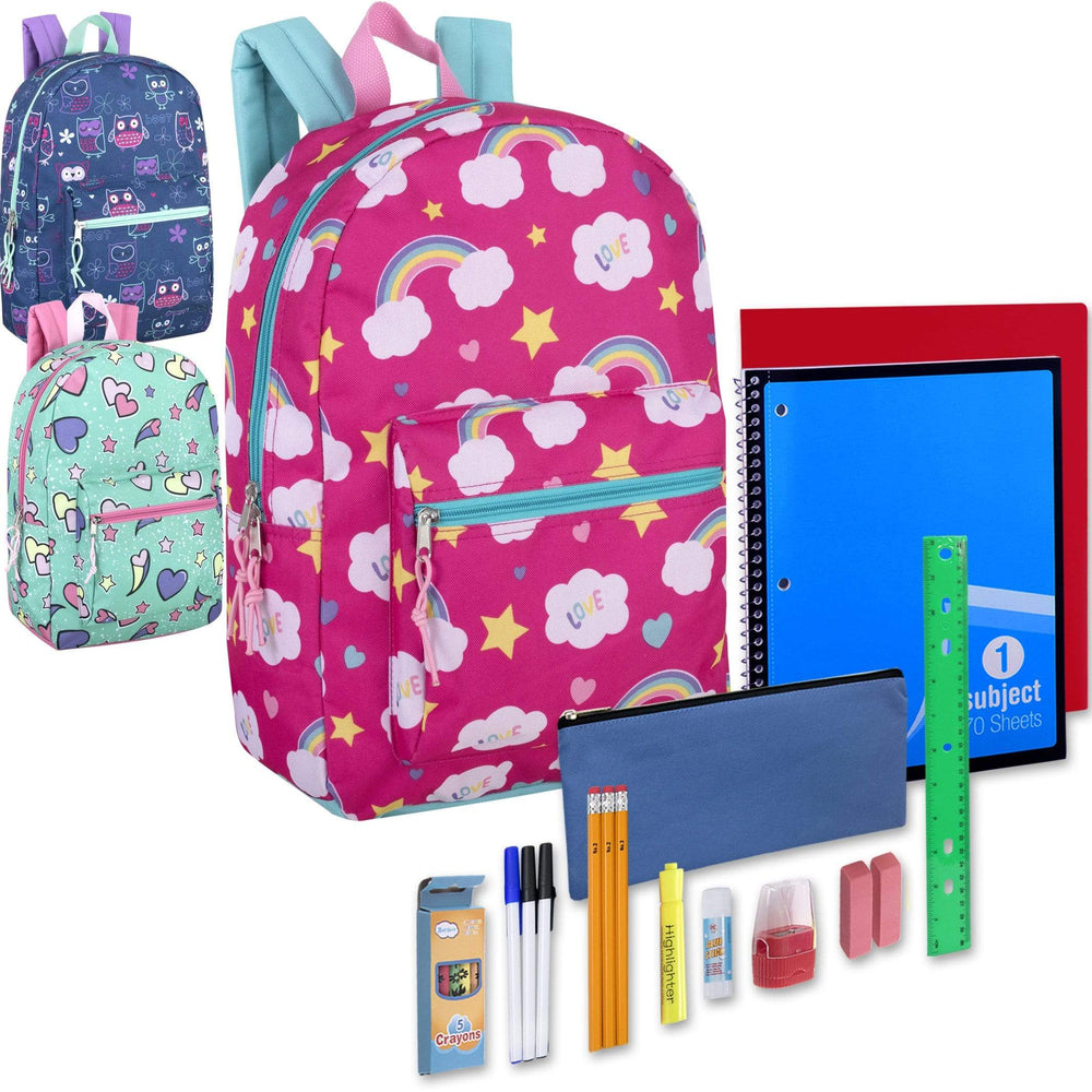 Preassembled 17 Inch Printed Backpack & 20 Piece School Supply Kit - Girls