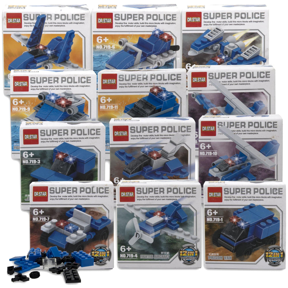 Micro Blocks Police Vehicles In Bulk- 12 Assorted Vehicles -