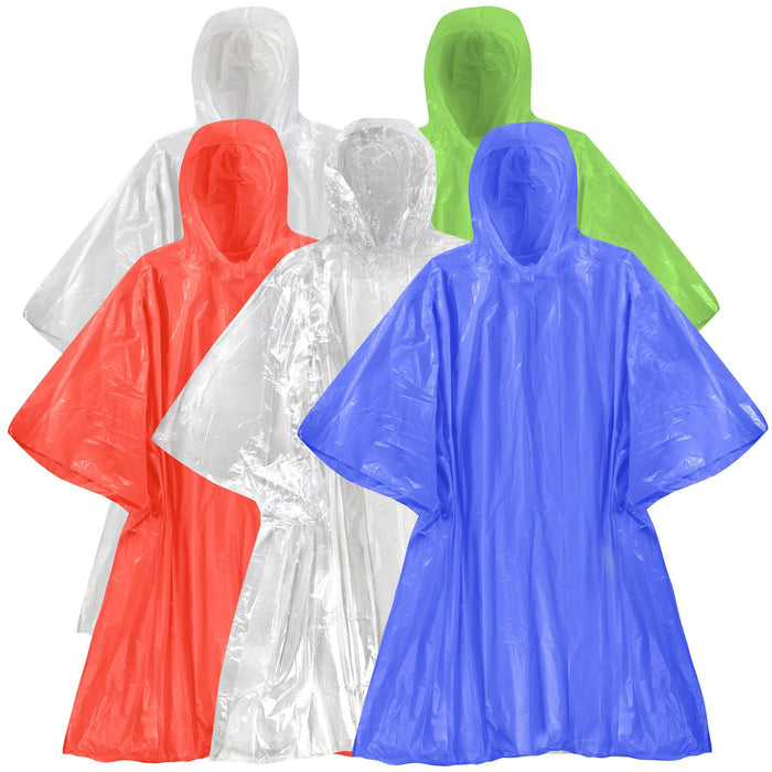 Wholesale Disposable Rain Ponchos - 5 Colors -