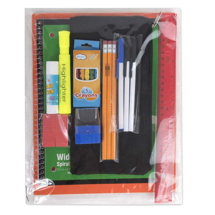 Preassembled 17 Inch Backpack & 20 Piece School Supply Kit - 6 Color -