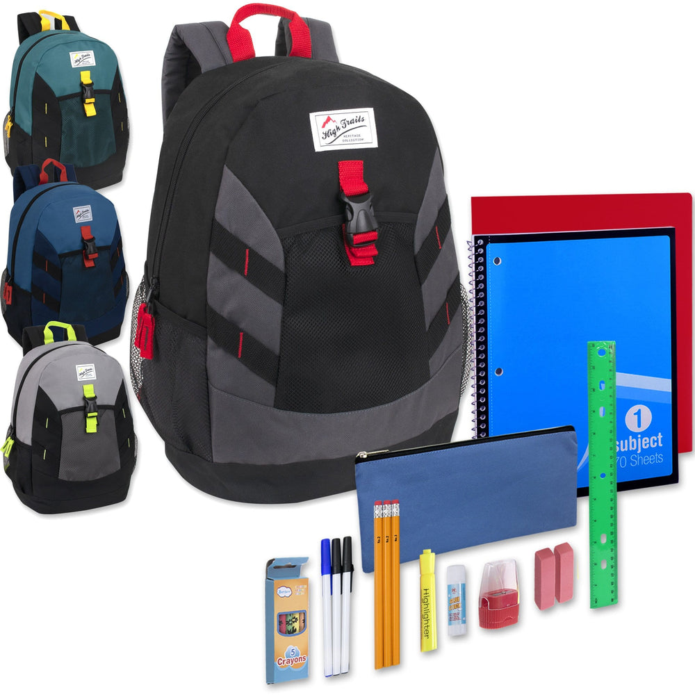 Preassembled 18 Inch High Trails Clip Pocket Backpack & 20 Piece School Supply Kit -  Boys