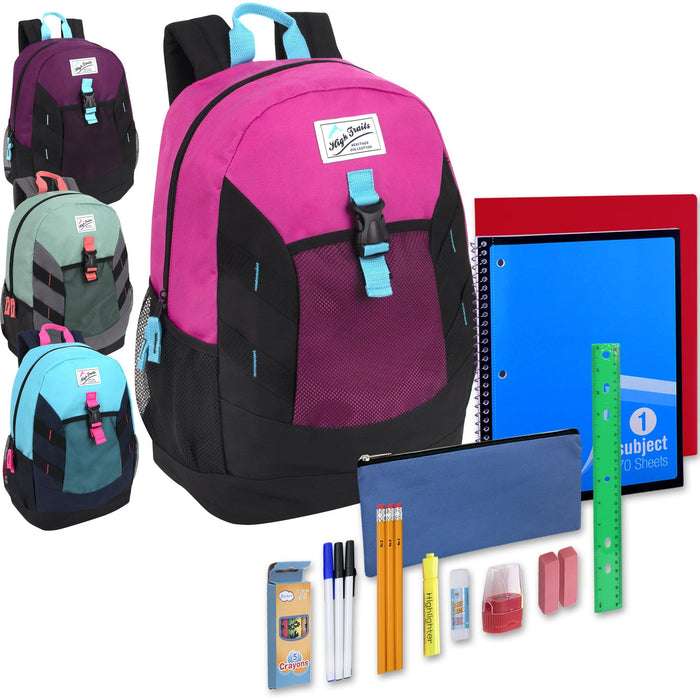 Preassembled 18 Inch High Trails Clip Pocket Backpack & 20 Piece School Supply Kit -  Girls