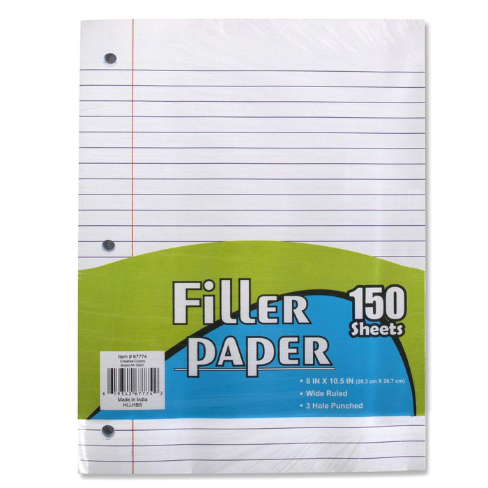 Wholesale Filler Paper - Wide Ruled 150 Sheets -