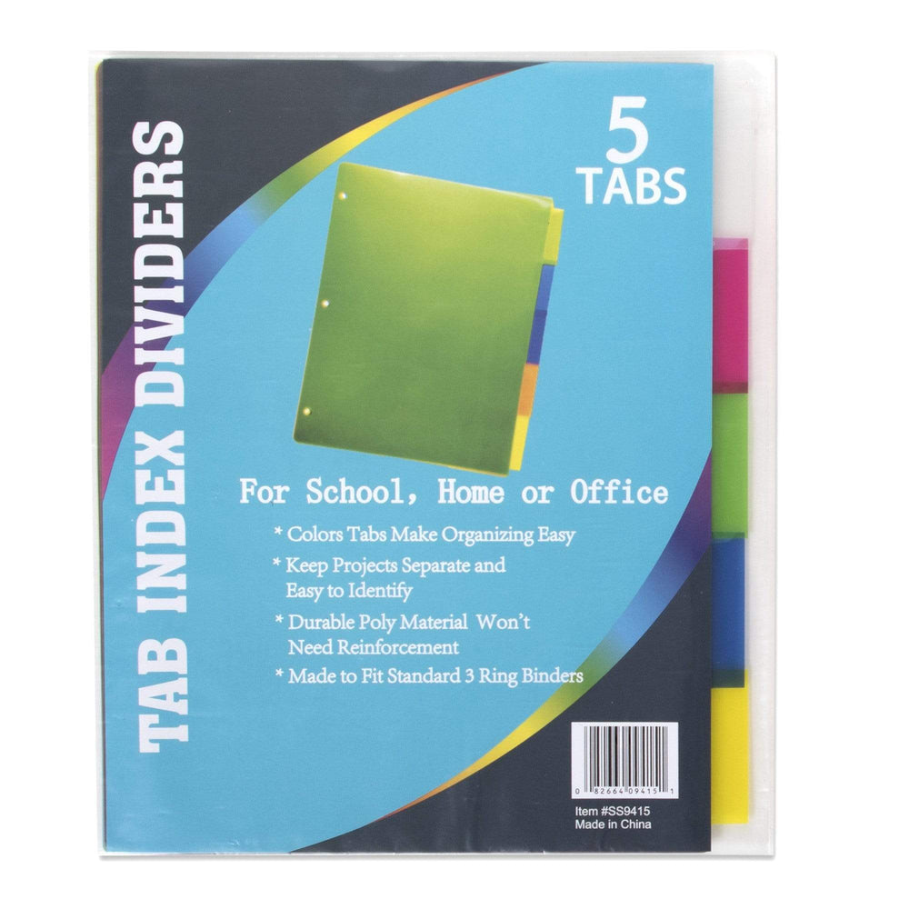 Wholesale 5 Pack Tab Index Dividers-BagsInBulk.com