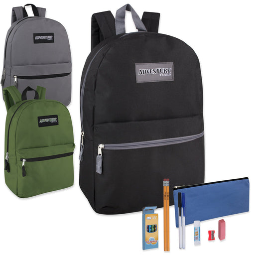 Preassembled 17 Inch Adventure Trails Backpack & 12 Piece School Supply Kit - 3 Colors -