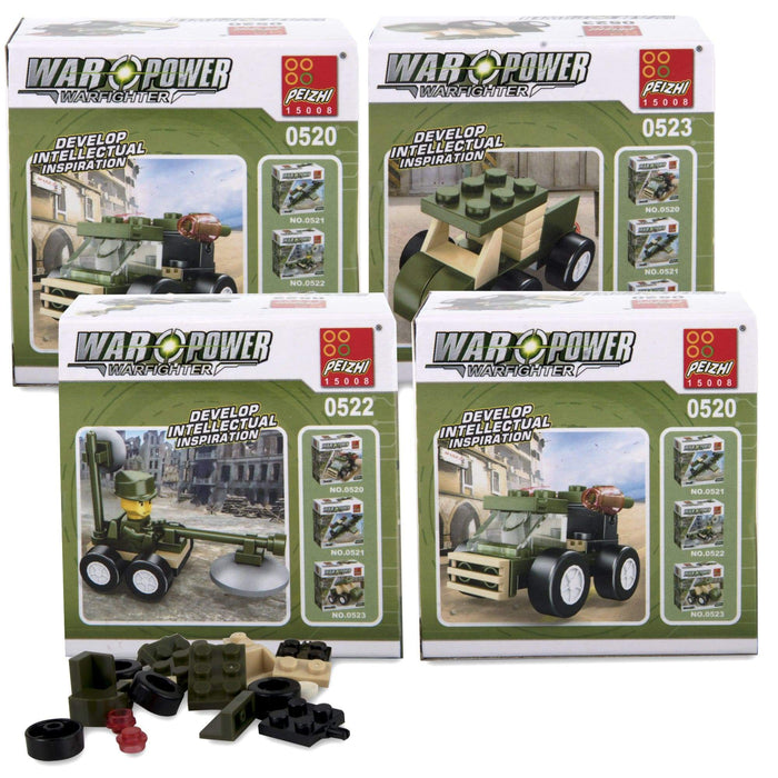 Micro Blocks Army Vehicles In Bulk - 4 Assorted Vehicles -