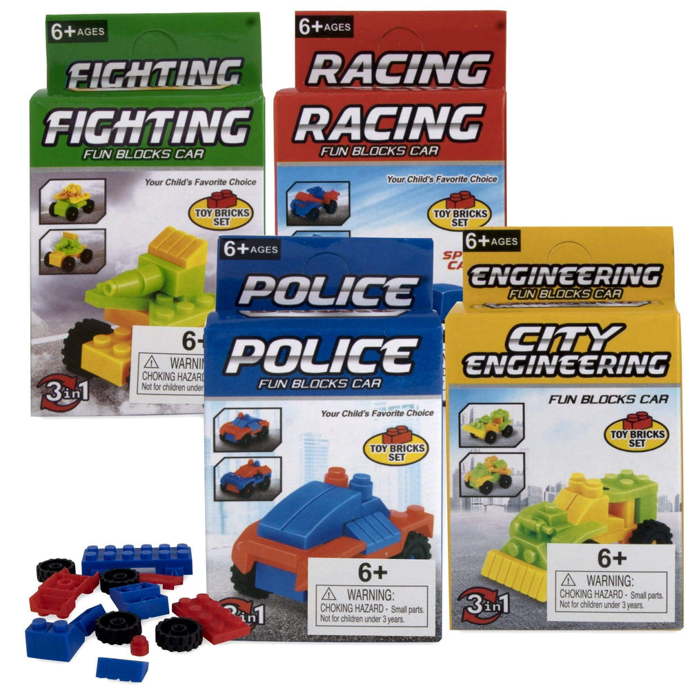 Micro Blocks Assorted Vehicles In Bulk - 4 Assorted Vehicles -