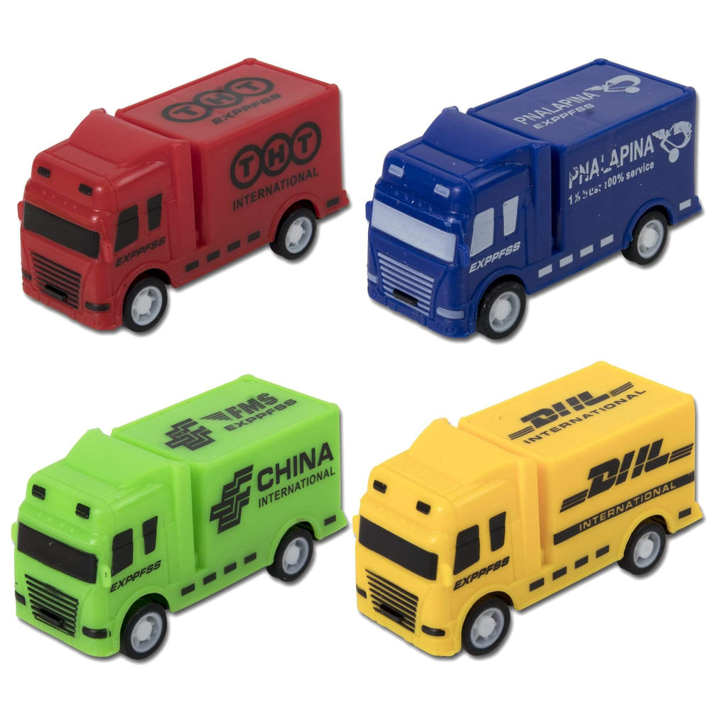 City Trucks Pull-Back Vehicles - 4 Assorted Vehicles -