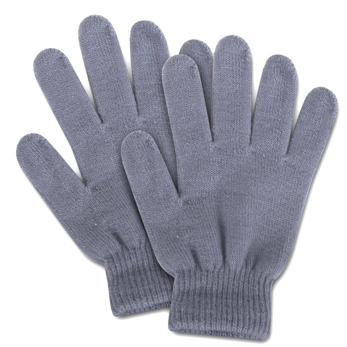 knit gloves in gray
