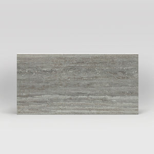 "Tale Verso Silver Polished 12""x24"" Travertine Look Porcelain Tile"