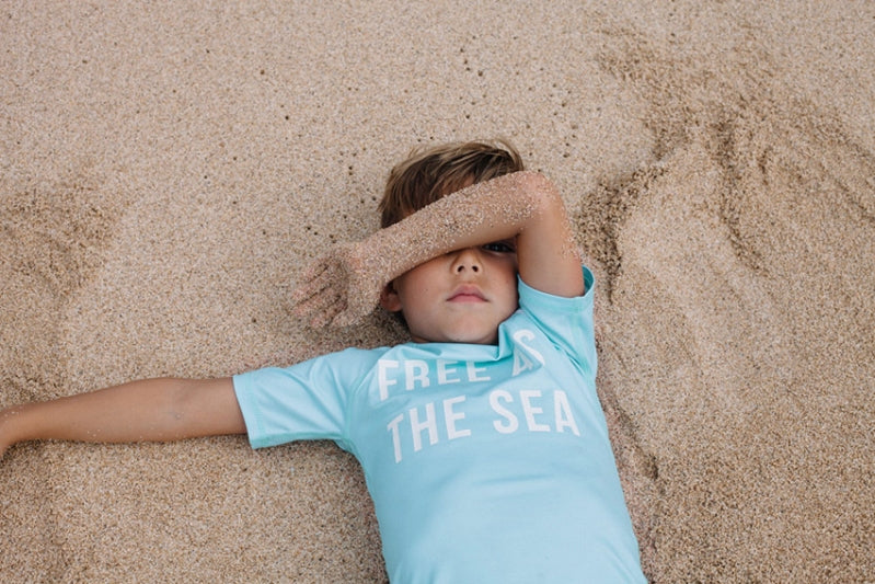 Free as the Sea Rashie - Chachi's Bay - kids rashies - kids swimwear - kids swim shoes - round towels - beach towels