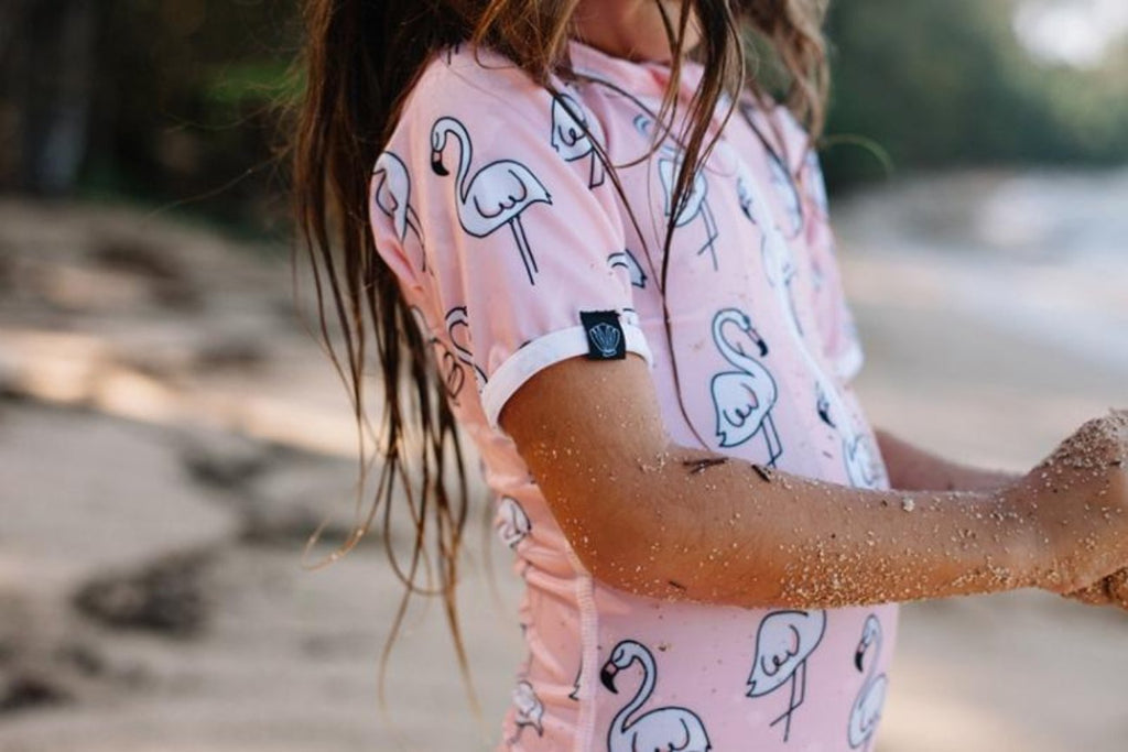 Pink Mingo Swim Suit - Chachi's Bay - kids rashies - kids swimwear - kids swim shoes - round towels - beach towels