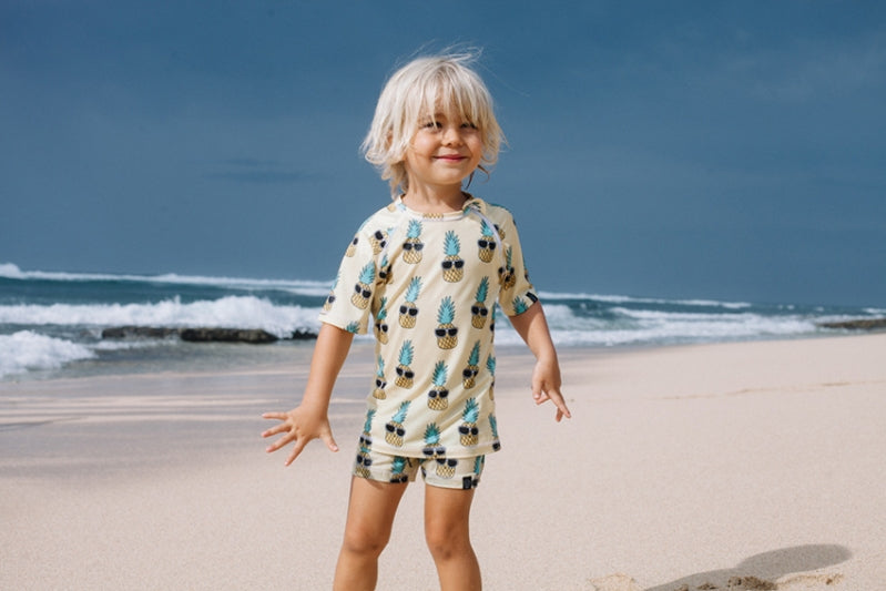 Punky Pineapples Swim Shorts - Chachi's Bay - kids rashies - kids swimwear - kids swim shoes - round towels - beach towels