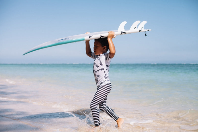 Salty Vibes Rashie - Chachi's Bay - kids rashies - kids swimwear - kids swim shoes - round towels - beach towels
