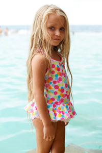 CONFETTI CROSS BACK (JUNIOR) 50% OFF - Chachi's Bay - kids rashies - kids swimwear - kids swim shoes - round towels - beach towels