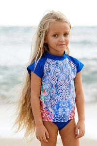 PEACOCK RASHIE & BOTTOMS 50% OFF - Chachi's Bay - kids rashies - kids swimwear - kids swim shoes - round towels - beach towels