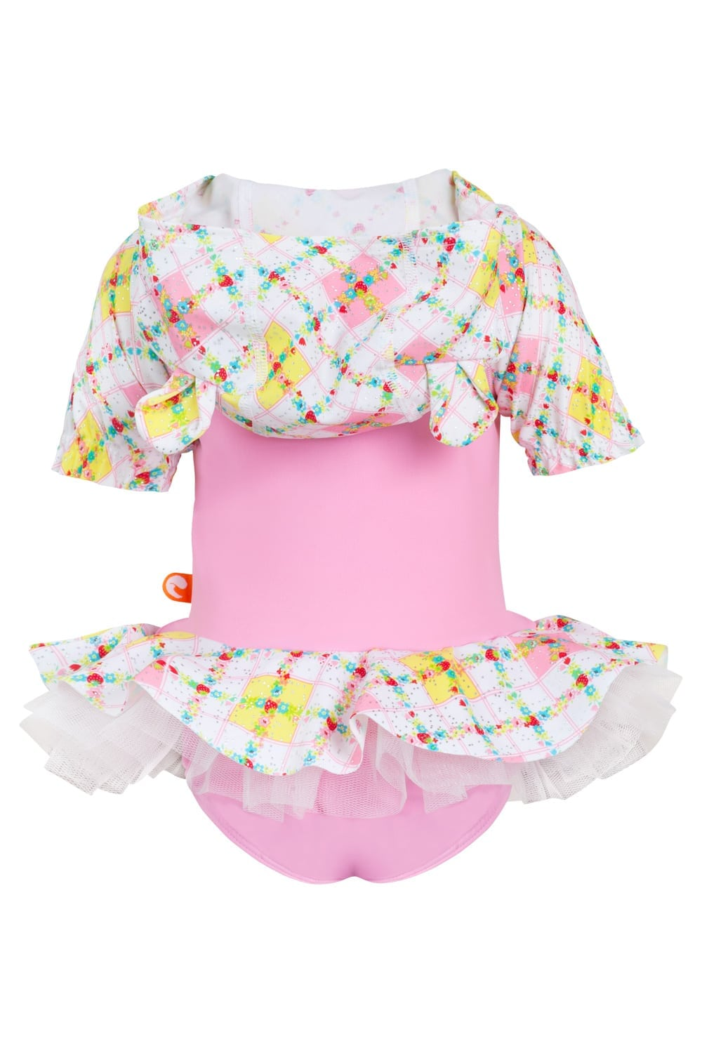 Strawberry Bliss Baby Hooded One Piece 50% OFF - Chachi's Bay - kids rashies - kids swimwear - kids swim shoes - round towels - beach towels