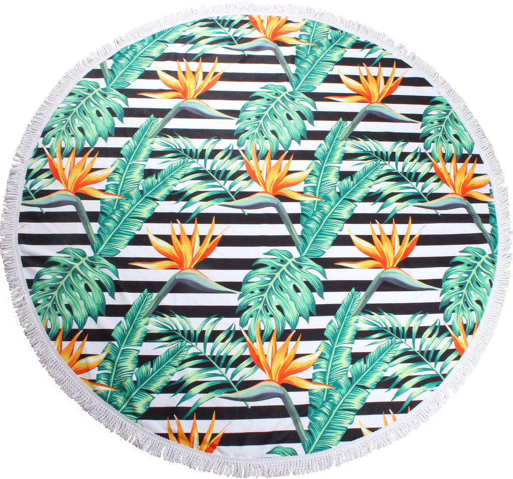 Birds of Paradise Round Towels - Chachi's Bay - kids rashies - kids swimwear - kids swim shoes - round towels - beach towels