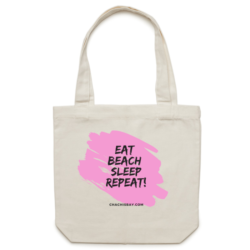 Eat. Beach. Sleep. Tote Bag (PINK) - Chachi's Bay