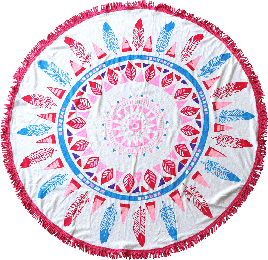Inca Feathers Round Towels - Chachi's Bay - kids rashies - kids swimwear - kids swim shoes - round towels - beach towels