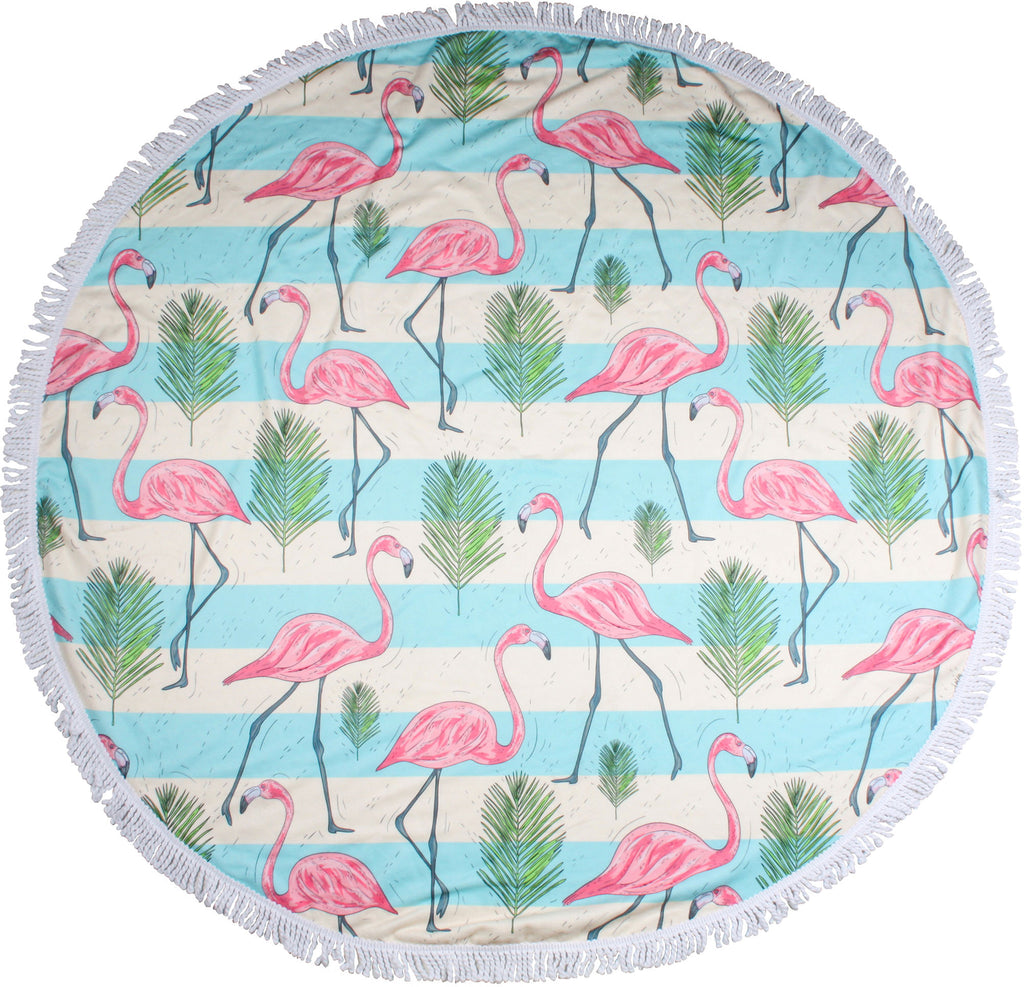 Flock of Flamingos Round Towel - Chachi's Bay - kids rashies - kids swimwear - kids swim shoes - round towels - beach towels
