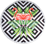 Geo Flamingos Round Towel - Chachi's Bay - kids rashies - kids swimwear - kids swim shoes - round towels - beach towels