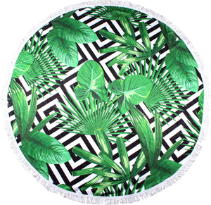Geo Palms Round Towel - Chachi's Bay - kids rashies - kids swimwear - kids swim shoes - round towels - beach towels
