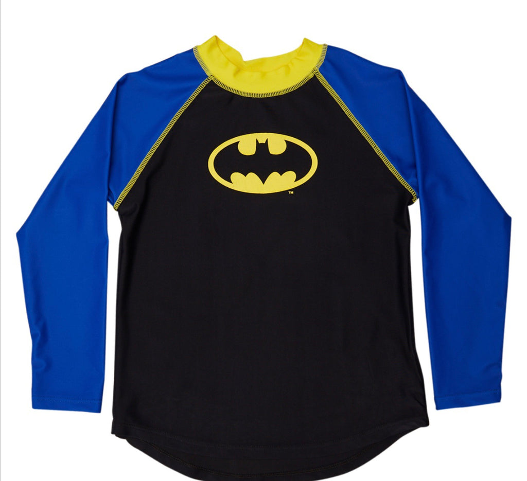Batman Long Sleeve Rashie 50% OFF - Chachi's Bay - kids rashies - kids swimwear - kids swim shoes - round towels - beach towels