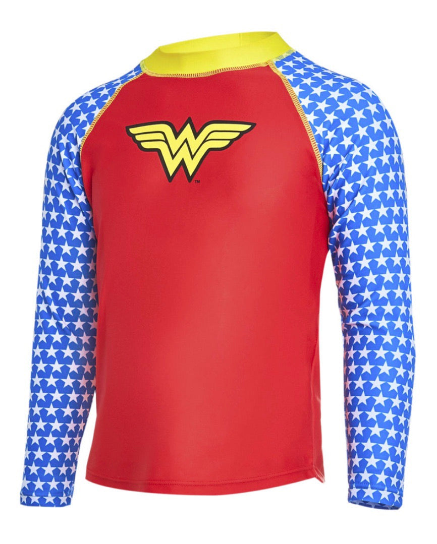 Wonder Woman Long Sleeve Rashie 50% OFF - Chachi's Bay - kids rashies - kids swimwear - kids swim shoes - round towels - beach towels