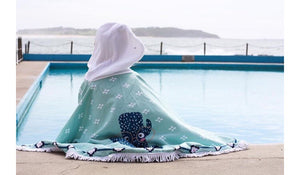 The Charlie Beach Towel Poncho - Chachi's Bay - kids rashies - kids swimwear - kids swim shoes - round towels - beach towels