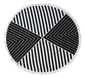Monochrome Round Beach Towel - Chachi's Bay - kids rashies - kids swimwear - kids swim shoes - round towels - beach towels