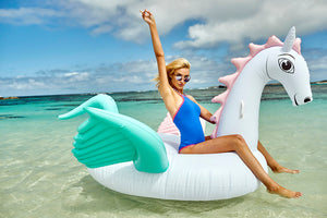 Giant Pegasus Floats. Pastel and Rainbow - Chachi's Bay - kids rashies - kids swimwear - kids swim shoes - round towels - beach towels