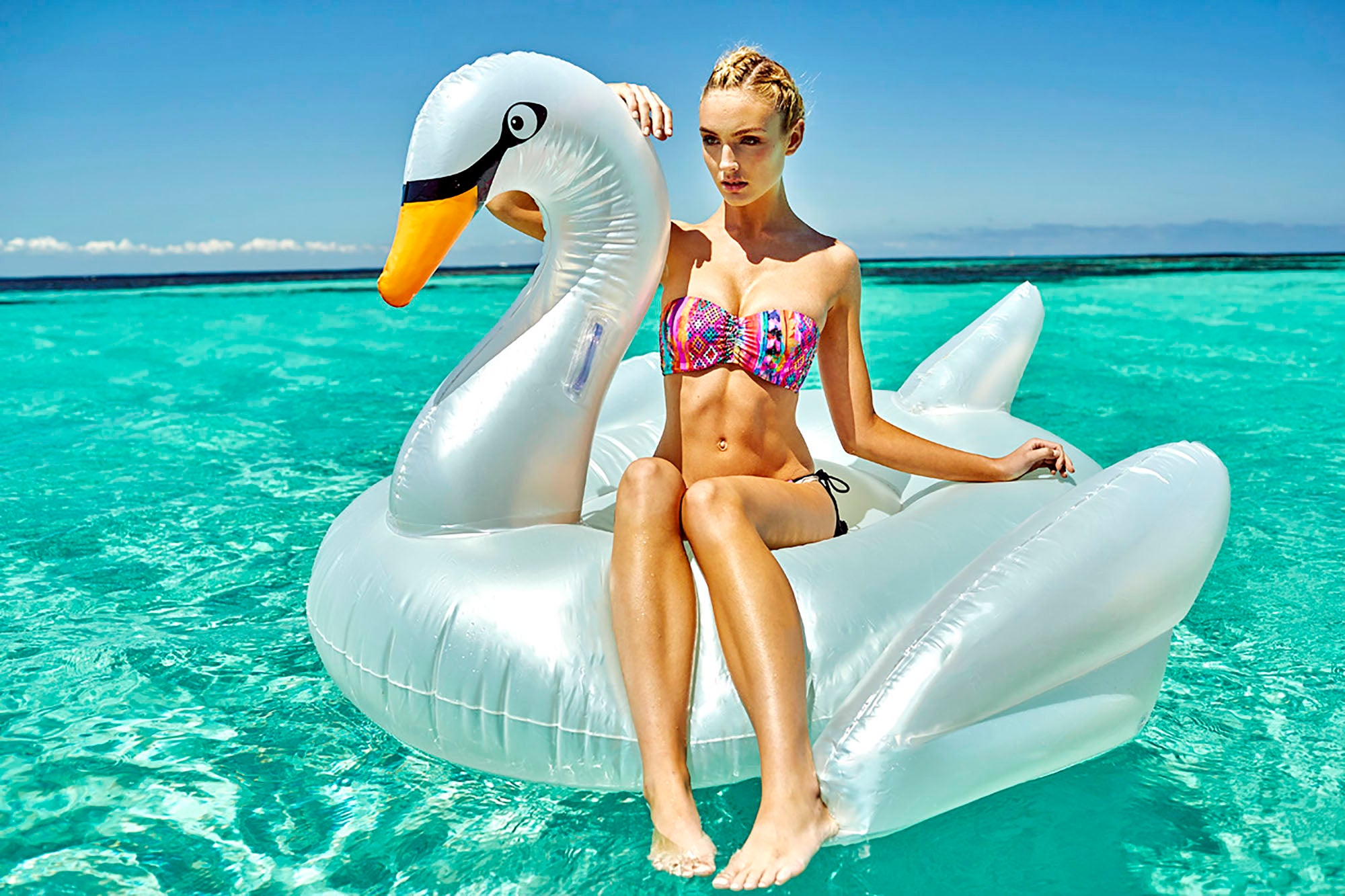 Elegant Swan Float. Assorted Colours. - Chachi's Bay - kids rashies - kids swimwear - kids swim shoes - round towels - beach towels