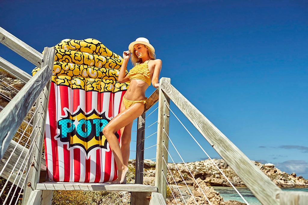 Giant Pop Corn Pool Float - Chachi's Bay - kids rashies - kids swimwear - kids swim shoes - round towels - beach towels