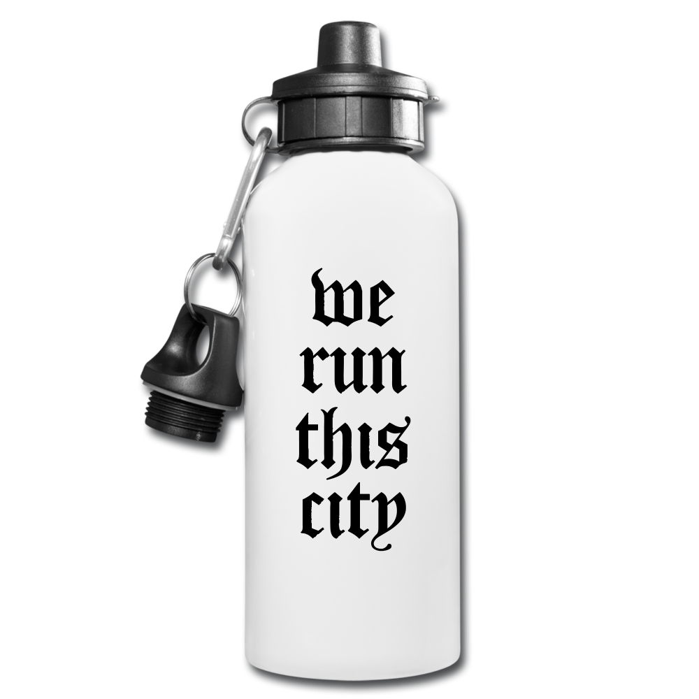 We Run This City Water Bottle - white