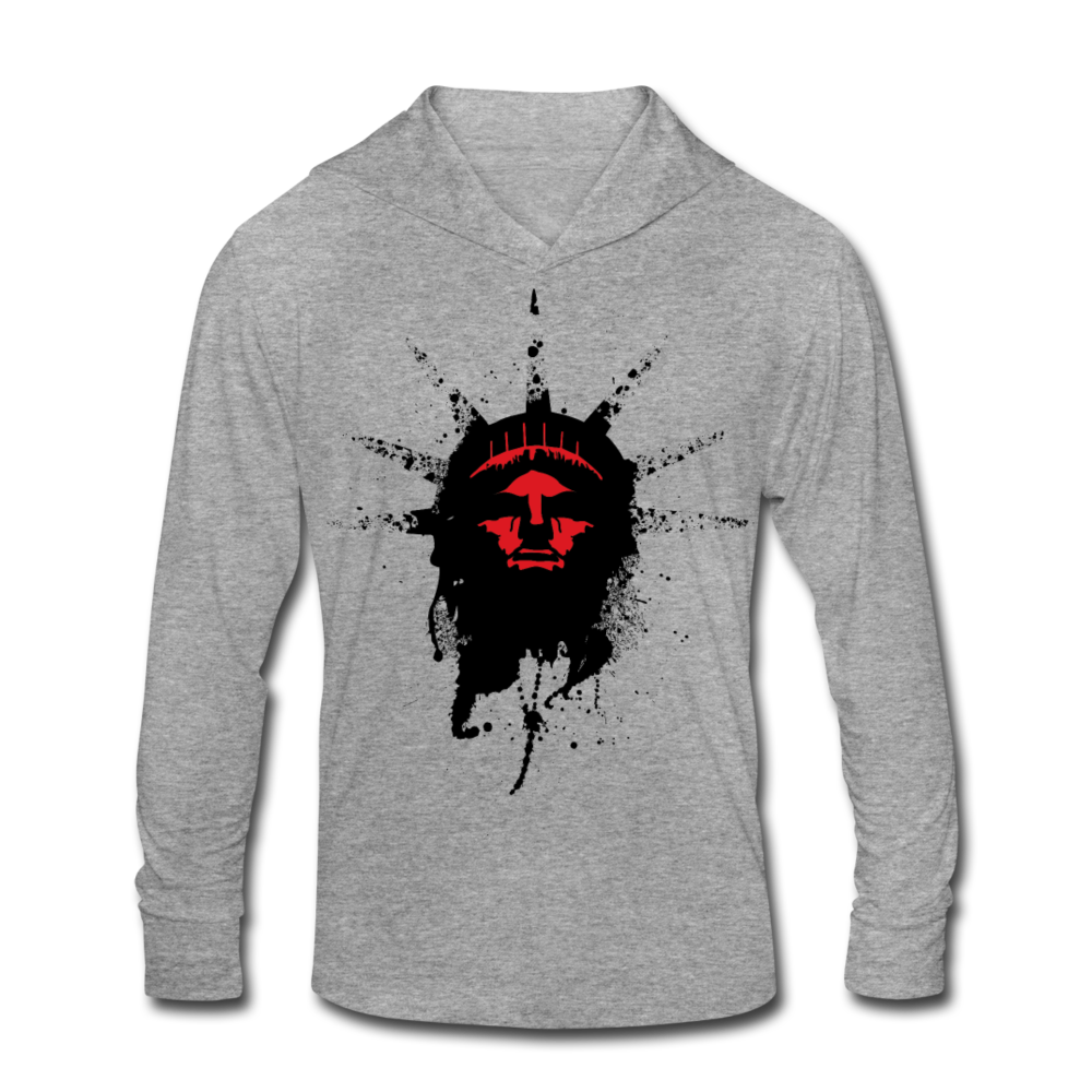Liberty Of Kaos (RED) Tri-Blend Hoodie Shirt - heather gray